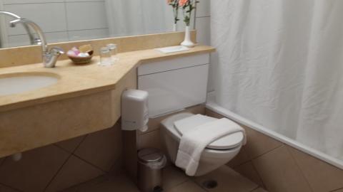 השירותים והאמבטיה במלון צובה